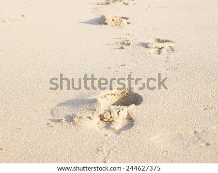 Footprint on the beach, Fukuoka, Japan