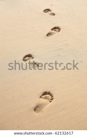 Footprint on the sand . - stock photo