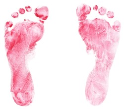 Footprint on white paper with blue tempera color