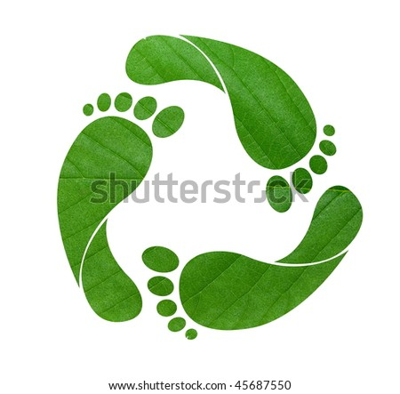 Footprint recycle sign isolated on white