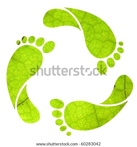 Footprint recycle sign isolated on white with green leaf texture