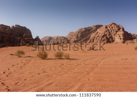 Footprints and vehicle tracks lead off into the orange desert
