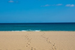 Footprints in sand at a fine sandy beach with seaview till the horizon over the blue sea.