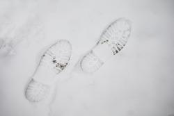 Footprints In Snow. Human Footprints In The Snow.