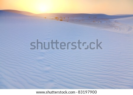 Footprints in the sand dunes at sunset