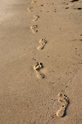 Footprints in the sand near the sea. Human footprints on the shore of a sandy beach.