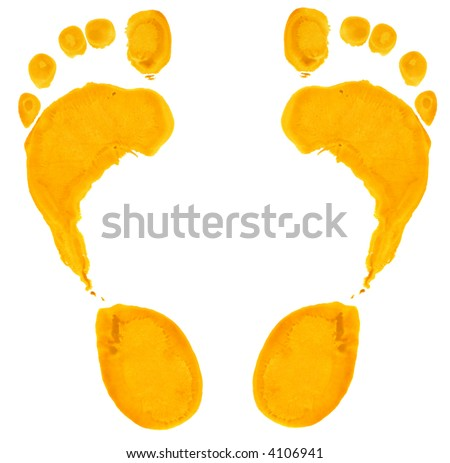 Footprints in yellow paint