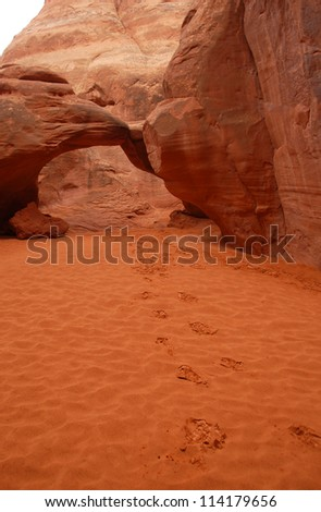 Footprints Leading to Sand Dune Arch, Arches National Park, Utah, USA