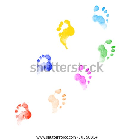 Footprints of different colors on a white background in different positions.