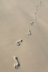 Footprints on sea beach sand - vertical background