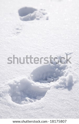 footprints on snow background, focus on nearest (selective)