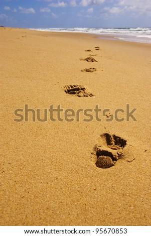 Footprints on the beach. Focus on closest footprint