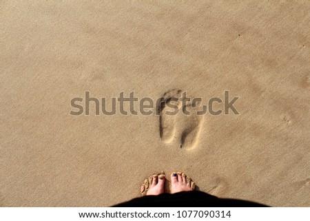 Footprints on the sand at Hikkaduwa Beach in Hikkaduwa, Sri Lanka. Popular touristic asian destination. Vacation destination #1077090314