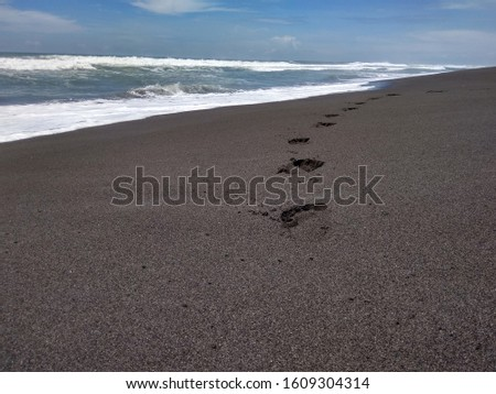 footprints on the shoreline with the waves as natural beauty