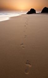 Footsteps left behind in the sand at sunset.