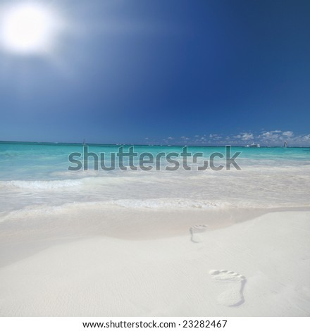 Footsteps on a Beautiful Caribbean tropical beach with white sand and green ocean, suitable background for a variety of designs