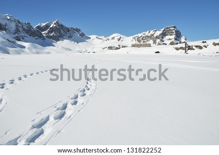 Footsteps on the snow. Melchsee-Frutt, Switzerland
