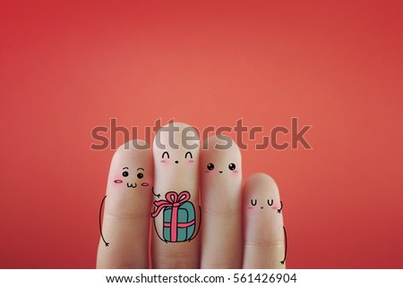 For fingers decorated as four happy person. Suitable to be used for anything about celebration.