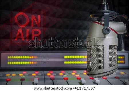 for radio stations: a microphone in radio studio