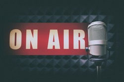 for radio stations: microphone in radio studio and on air sign