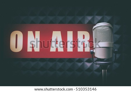 for radio stations: microphone in radio studio and on air sign Stock foto ©