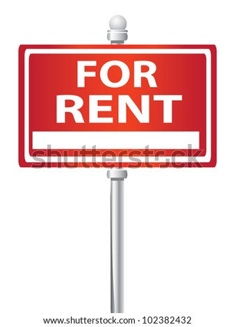 For rent signpost on white background