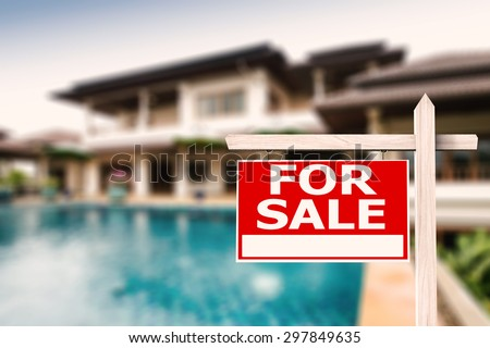 for sale sign at luxury house with pool background #297849635