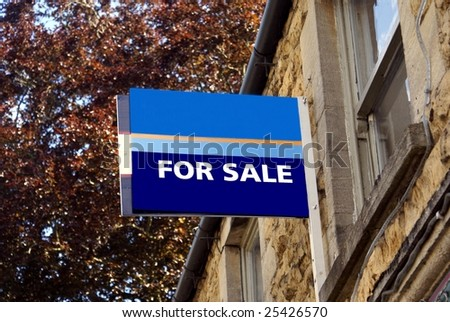 For sale. Sign of a house or home for sale