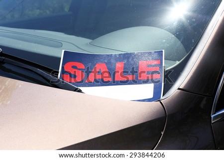 for sale sign on windshield of car stock photo 293844206 shutterstock. Black Bedroom Furniture Sets. Home Design Ideas