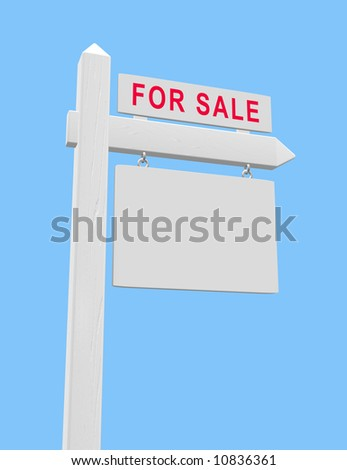 For sale sign on wooden post with blank placard suitable for real estate use.