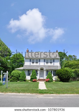 For Sale Sign Suburban Home Sunny Blue Sky Day