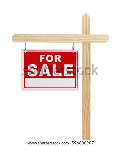 For Sale Sign With Copy Space Isolated on White Background.