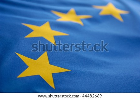 For stars on a european flag in closeup