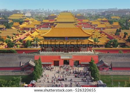 Stock Photo Forbidden city in Beijing from above