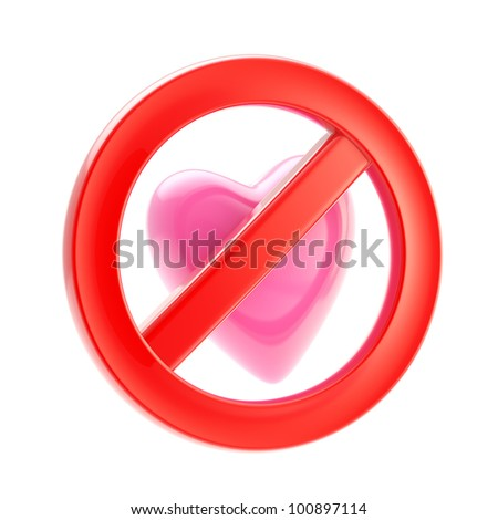 Forbidden not allowed love red glossy sign icon isolated on white