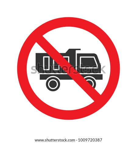 Forbidden sign with truck glyph icon. No lorry prohibition. Stop silhouette symbol. Negative space. Raster isolated illustration
