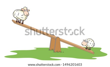 Force and weight. Strength and weight. heavy and light lambs on seesaw. ( tr: tahteravalli üzerinde ağır ve hafif iki kuzu ) Stok fotoğraf ©