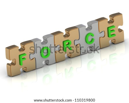 FORCE word of gold puzzle and silver puzzle on a white background