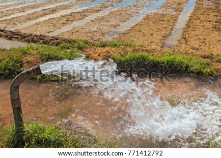 forcefull water gushing out  from tube well through pipeline for irrigating the agricultural fields in Andhra Pradesh   village of rural India  #771412792