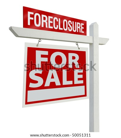 Foreclosure Home For Sale Real Estate Sign Isolated on a White Background with Clipping Paths - Left Facing. stock photo