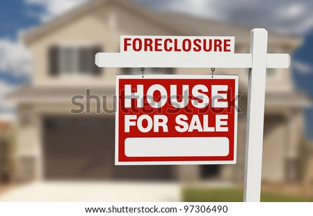 Foreclosure House For Sale Sign in Front of Beautiful Home.