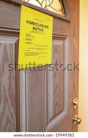 Foreclosure Notice On Door Of Home Focus Of Sign Stock