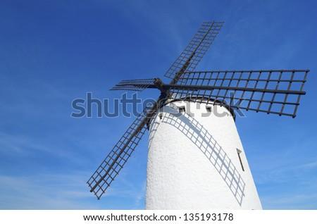 forefront of  the blades of a traditional windmill in Campo de Criptana, Ciudad Real, Castilla La Mancha, Spain