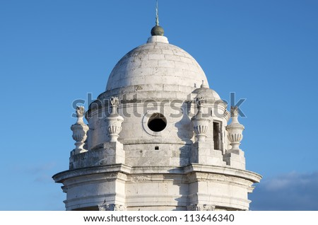 forefront of tower of the Cathedral of Cadiz, Andalusia, Spain