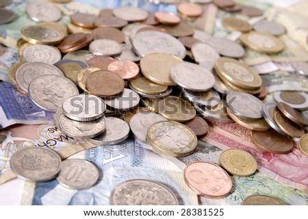 Foreign bills and coins from the European Union, Switzerland, the United Kingdom, Ecuador, Peru, Mexico, the Netherlands Antilles, the Czech Republic, Morocco, and Russia