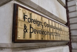 Foreign, Commonwealth and Development Office plaque sign, UK, London