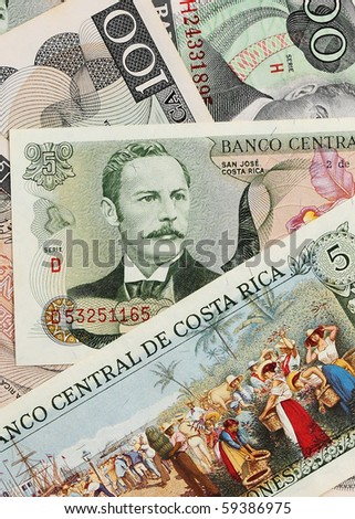 Foreign Currency. Close up of costa rica money.