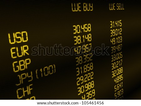 Foreign Currency Exchange Rate on Display