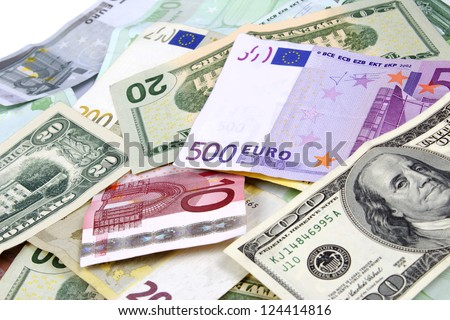 Foreign currency from various counties.