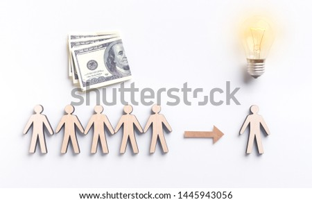 Foreign investors with dollar currency crowdfunding young enterpreneur to embody his idea, panorama #1445943056